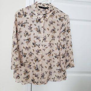 3/$25 Zara Floral Patterned Button-Up Shirt